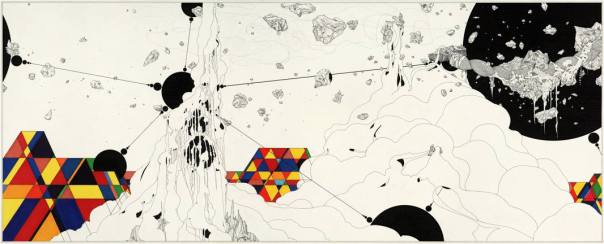 Suspension of Elements (A Kind of Reassembly), 2009 18.25 x 45.25 Inches. Ink and graphite on paper © Ernesto Caivano